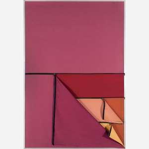 Nelson Leirner<br>Homenagem a Fontana II, 1967.<br>Tecido, zíper e moldura fixa de alumínio. <br>180 x 125 cm.