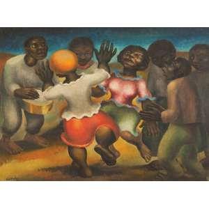 "ANTÔNIO GOMIDE<br>""Roda de samba""<br> Óleo sobre tela. Ass.dat. 1951 inf.esq. 54 x 73 cm."