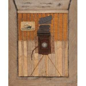 """WESLEY DUKE LEE<br>""""Sem titulo""""<br> Óleo e colagem sobre tela colado eucatex.<br> Ass.dat. 1964 inf.dir. 83 x 68 cm."""