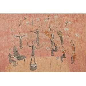 "THOMAZ IANELLI<br>""Orquestra""<br> Óleo sobre tela. Ass. inf. dir. Ass. dat. 1993 no verso. 129 x 89 cm."