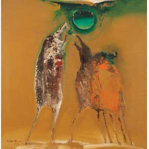 """MANABU MABE<br>""""Sem titulo""""<br> Nº AB 72-3. Óleo sobre tela. 102 x 102 cm. Com etiqueta da Galeria de Arte Ipanema."""