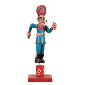 """LAURENTINO ROSA DOS SANTOS<br>""""Homem sinaleiro""""<br> Escultura em madeira pintada. Ass. 46 cm alt."""