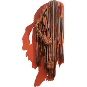 Franz Krajcberg<br>Sem título - Madeira pintada com pigmentos naturais <br>déc. 80 - <br>160 x 80 x 25 <br>Apresenta certificado emitido por Sérgio Caribé