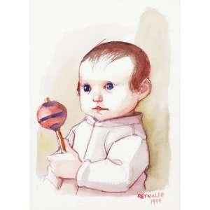 Reynaldo Fonseca<br>Menino com chocalho - aquarela <br>1999 - <br>35 x 25