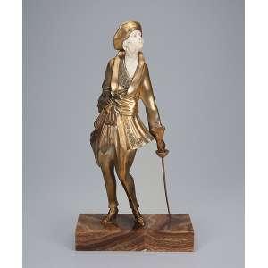 FARKAS, G.<br>A esgrimista. Escultura de bronze e marfim, sobre base de mármore.<br>Assinada no bronze.<br>35 cm de altura.<br>França, c. 1930.