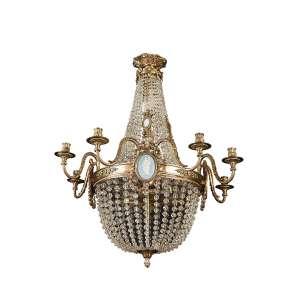 Fino lustre para quatro lâmpadas e oito velas, com estrutura de bronze dourado e cinzelado, ornamentado por cordões de cristal perolado e placas de porcelana Wedgwood. 73 cm de diâmetro x 83 cm de altura.<br>Europa, séc. XIX.