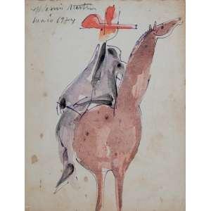 ALDEMIR MARTINS<br> Homem a cavalo. Caneta esferográfica e aquarela, 12,5 x 10 cm. Datado de 1974. Com certificado.