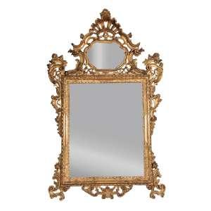 Magnífico e raro espelho com moldura de madeira, inspiração barroca, dourada, partes em ouro brunido encimado por cornija em forma de concha e espelhada. 187 cm de altura x 115 cm de largura. França, séc. XVIII.