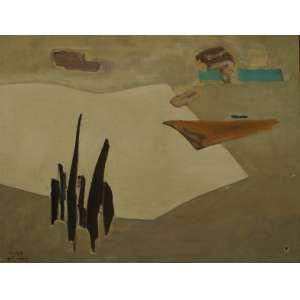 Manabu Mabe - Abstrato - Óleo sobre tela, 70 X 90 cm Assinado e datado e localizado S.P 1959 no canto inferior esquerdo