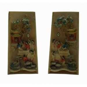 Wrist Rest em marfim representando cenas do cotidiano ricamente trabalhada e policromada. China Séc XIX - 15 cm de alt