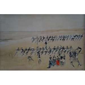 CARIBÉ - Pesca do Xareu -Pintura em Tempera - CID - dat 63 - 70 x 100 cm. No verso etiqueta da `` A GALERIA ¨e menção a `` Galeria BONINO ´´.
