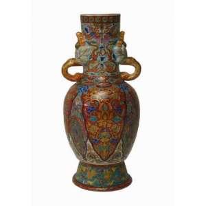Vaso de porcelana ricamente ornamentado decoração IMARI - Japão Séc XIXXX - 33 cm de alt, 14 de diâmetro