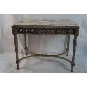 Mesa de centro de madeira lavrada e patinada , tampo de mármore estilo LUIZ XVI - 77 cm de alt, 89 cm de comp, 65 de prof
