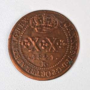 Moedas de Cobre, Brasil -XX Réis, 1821 Rio. Quase Flor de Cunho