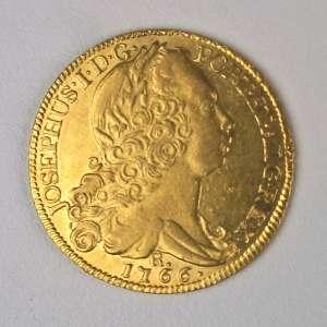 Moeda de Ouro, Brasil - 6.400 Réis, 1766 Rio. Quase Flor de Cunho