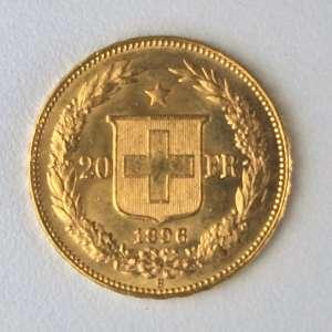 Moeda de Ouro, Suiça - 20 Francos, 1896. Flor de Cunho