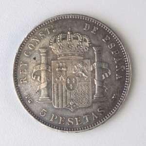 Espanha, Moeda de Prata - 5 Pesetas, 1898. Soberba