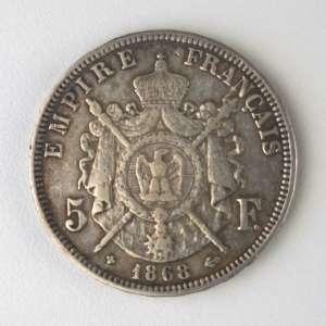 França, Moeda de Prata - 5 Francos, 1868. Muito Bem Conservada