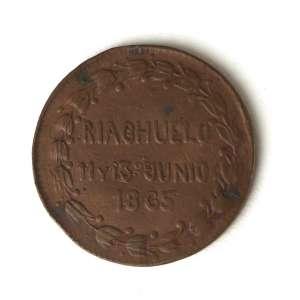 Paraguai, Condecoração Militar da Guerra do Paraguai em Cobre, dado pelo governo do Paraguai às Tropa que participaram da Batalha do Riachuelo, 11 e 13 de Junho de 1865, raro. Bem Conservada