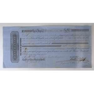 Letra de Câmbio do Banco União do Porto no valor de 12.000 Réis pagável no Rio de Janeiro com data de 1865. Soberbo