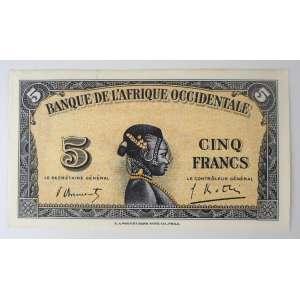 África Ocidental Francesa, Cédula de 5 Francos (1942). Flor de Estampa