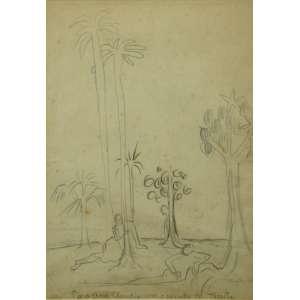 TARSILA do Amaral - Paisagem , lápis sobre papel - Dat 1931 - CID 28 x 20 cm.