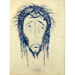 ALBERTO da Veiga Guignard - Cabeça de cristo , desenho sobre papel - Ass centro - datado de 1959 - 23,5 x 17,5 cm
