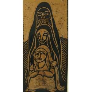RAIMUNDO DE OLIVEIRA - Figuras - Nanquim sobre papel colado em madeira/CID - dat 1955 - 62 x 30 cm.