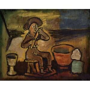 Bonadei, Aldo<br />O flautista. Óleo sobre madeira, 25x30 cm, 1964, A.C.S.E<br />Coleção Odetto Guersoni.