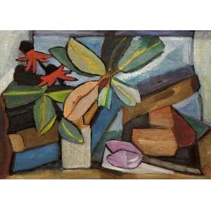 Bonadei, Aldo<br />Flores e folhas. Óleo sobre tela, 55x78 cm, 1963, A.C.I.D.<br />Coleção Odetto Guersoni.