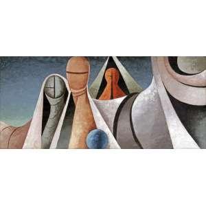 Walter Lewy<br />Paisagem surreal. Óleo sobre tela, 55x120 cm, 1965, A.C.I.D.