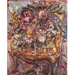 Sou Kit Gom<br />Flores sobre a poltrona. Acrílica sobre tela, 150x120 cm, 2016, A.C.I.D.