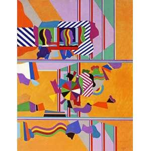 """Sued, Eduardo<br />Composição. Óleo sobre madeira, 120x93 cm, 1967, A.C.I.D.<br />Reproduzida no catálogo da exposição """"Cor e Forma"""" de 2014."""