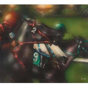 LOURENÇO - Corrida de cavalos - O.S.T. - 65 x 73 cm - a.c.i.d. 1975 - com etiqueta do Renato Magalhães Gouveia.