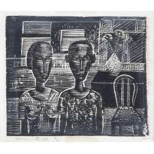 SAMICO, Gilvan - Interior com casal - xilogravura II - 15 x 18 cm - a.c.i.e. 1958 - Um exemplar reproduzido na pg. 39 do catalogo da exposição Samico 40 anos de gravura realizada no CCBB do Rio de Janeiro em 1997.