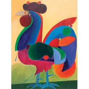 ALDEMIR MARTINS - Galo - acrílico sobre tela - 82 x 62 cm - a.c.i.d. 1972