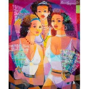 Mário Mariano<br>Mulheres com Leques – 50 x 40 cm <br>OST – Ass. CID e Dat. 2015