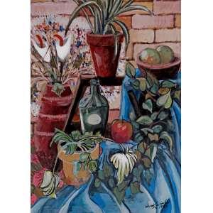 Wilde Lacerda<br>Composição com Flores – 77 x 55 cm <br>OSE – Ass. CID e Dat. 1987