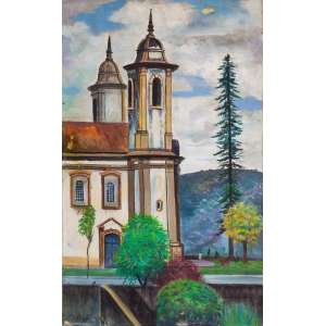 Estevão<br>Igreja de Ouro Preto com Pessoas <br>60 x 38 cm – OST – Ass. CIE<br>