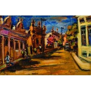 Sergio Telles<br>Rua em Santa Teresa, RJ – 40 x 60 cm – OSE – Ass. CID e Dat. 2001<br>Reproduzido no livro do artista A Pintura da Coerência na pág. 45