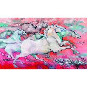 Enrico Bianco<br>Cavalos – 65 x 109 cm – OST – Ass. CID e Dat. 2009<br>Reproduzida no catálogo da exposição individual realizada pelo artista