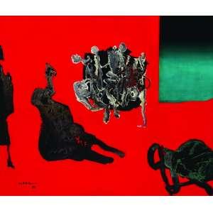 Manabu Mabe<br>Abstração – 50 x 60 cm – OST – Ass. CID e Dat. 1988<br>Selo no verso do Instituto Mabe. Esta Pintura é original-matriz de uma série de serigrafias