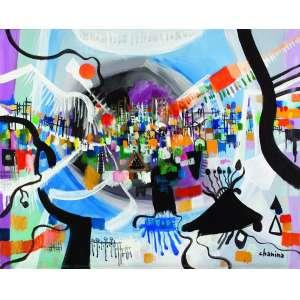 Chanina<br>Cidade Flutuante – 65 x 80 cm - OST – Ass. CID – Década de 1980<br>Reproduzido no livro do artista patrocinado pela Vallourec e com crítica de Jacob Klintowitz na pág. 189